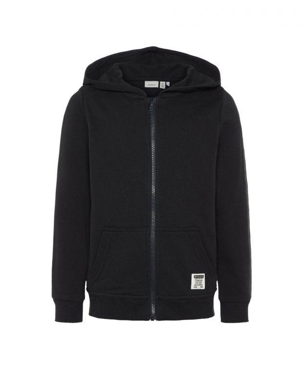 NAME IT Solid Coloured Zip-Up Hoodie Black - 13158554/black - 2