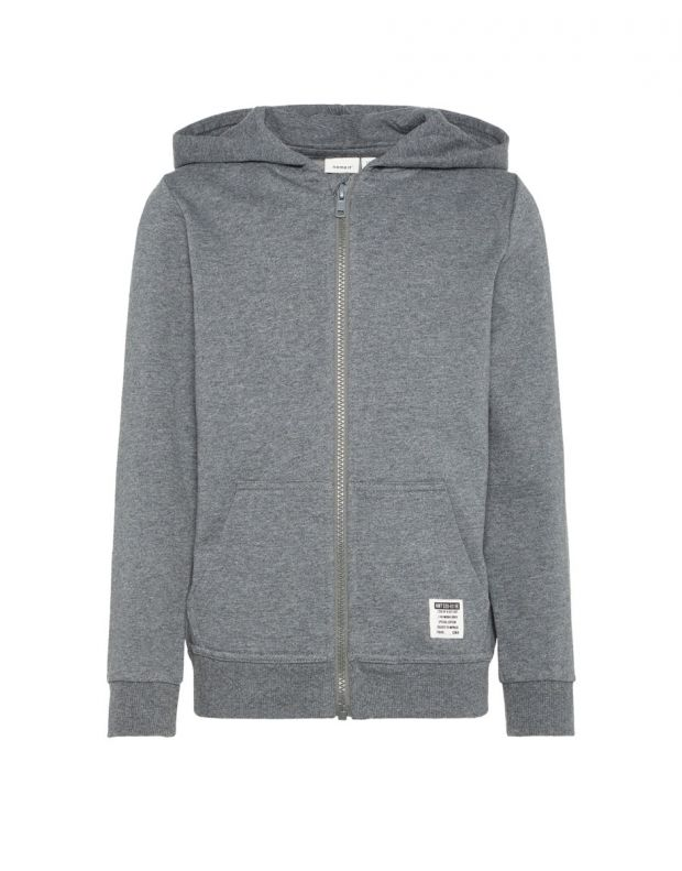 NAME IT Solid Coloured Zip-Up Hoodie Grey - 13158554/grey - 1