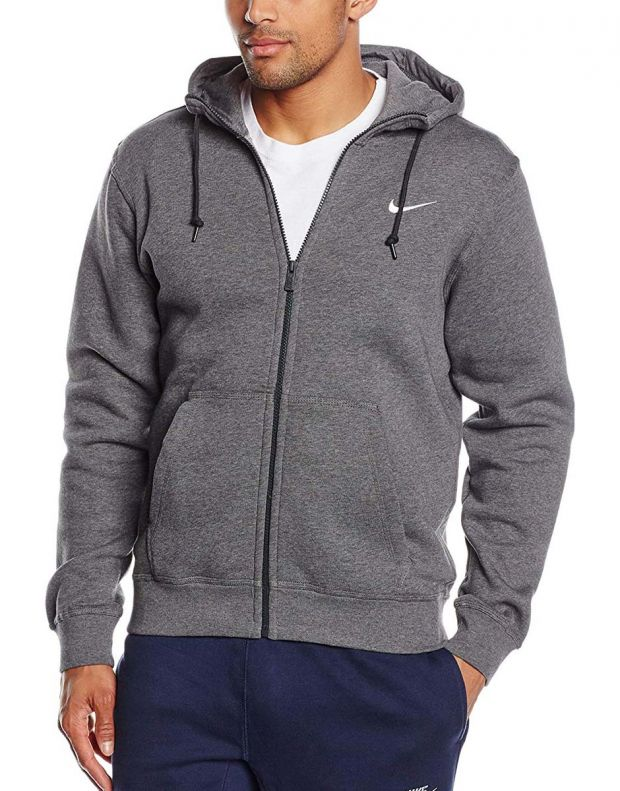 NIKE Swoosh Full Zip Fleece Hoodie Grey  - 1