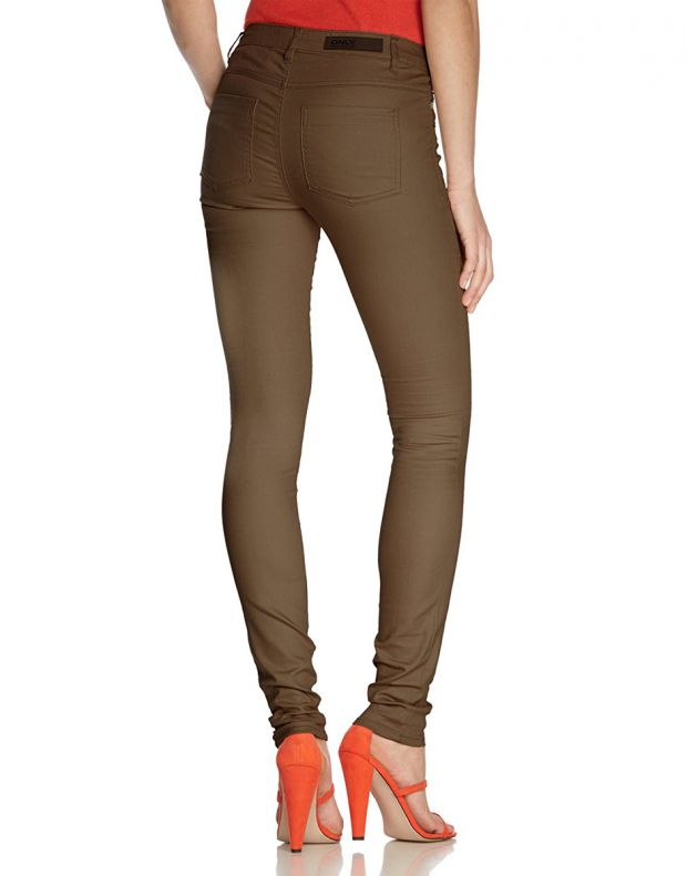 ONLY Coated Regular Zip Pant Chocolate - 2