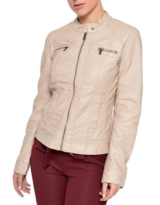 ONLY Bandit Leather Jacket Tan - 1