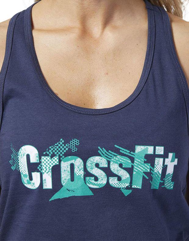 REEBOK CrossFit Print Fill Logo Tank Top Blue - EC1499 - 4