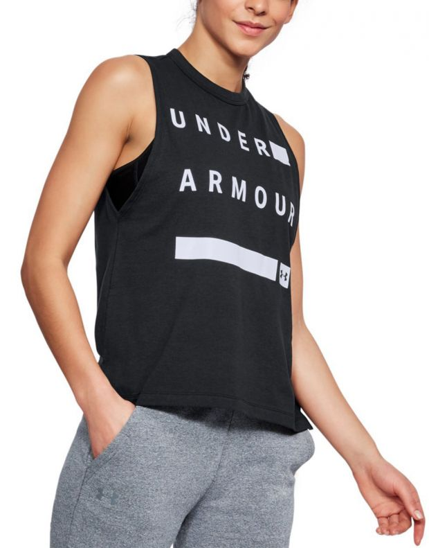 UNDER ARMOUR Muscle Linear Wordmark Tank Black - 1310482-001 - 1