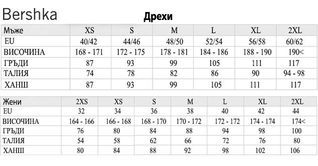 таблица с размери - Бершка