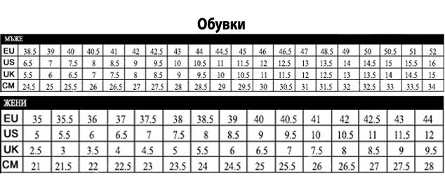 универсална таблица с размери - обувки